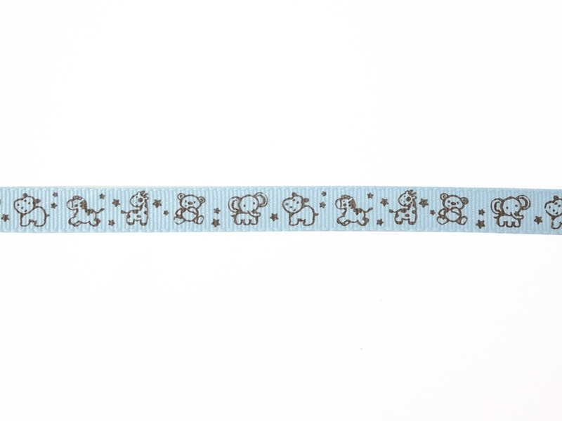 "Bobine 2m de ruban gros grain imprimé ""animaux"" 10 mm - bleu ciel 002  - 1"