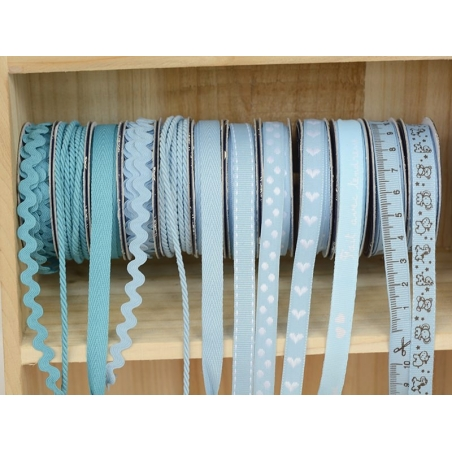 Woven Grosgrain ribbon spool (2 m) - animal print (10 mm) - sky blue (colour no. 002)