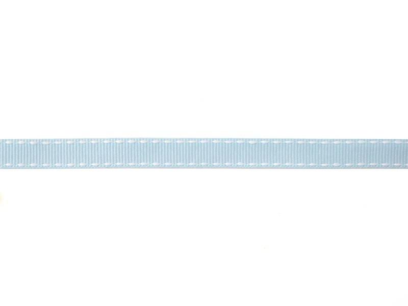 """Bobine 2m de ruban gros grain tissé """"tirets"""" 10 mm - bleu ciel 002"""
