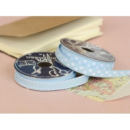 Woven Grosgrain ribbon spool (2 m) - dashes (10 mm) - sky blue (colour no. 002)
