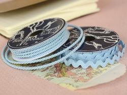 Grosgrain ribbon spool (2 m) - Rickrack (9 mm) - sky blue (colour no. 002)