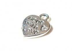 """Acheter 1 Breloque coeur """"Made with love""""- argent foncé - 0,39€ en ligne sur La Petite Epicerie - Loisirs créatifs"""
