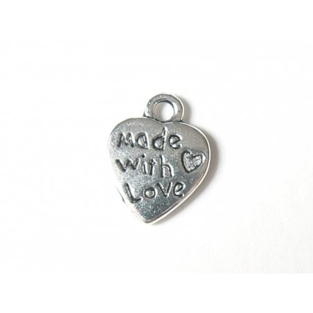 "1 Breloque coeur ""Made with love""- argent foncé"