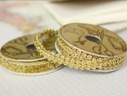 Decorative ribbon spool (2 m) - passament border (9 mm) - gold-coloured (colour no. 103)
