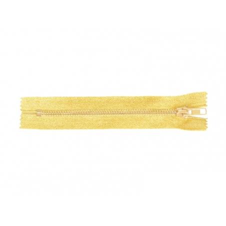 Fermeture éclair métallique or - 15 cm
