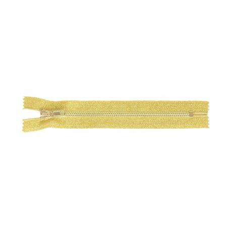Fermeture éclair métallique or - 18 cm