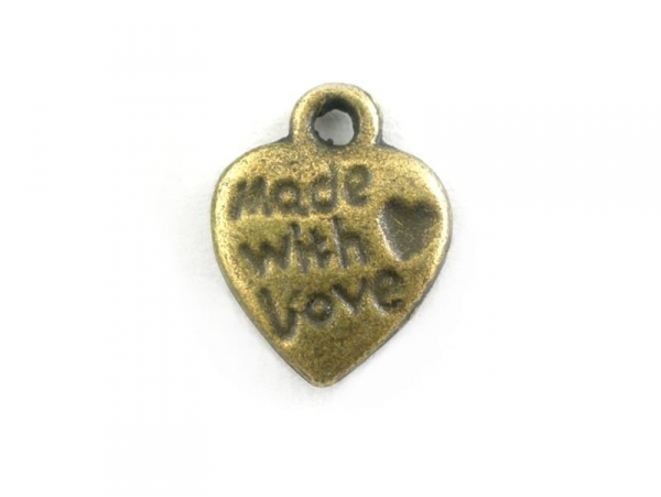 """1 """"Made with Love"""" charm - bronze-coloured"""