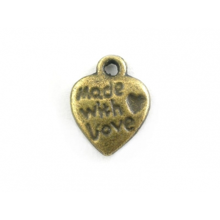 """Acheter 1 Breloque """"Made with love"""" - couleur bronze - 0,39€ en ligne sur La Petite Epicerie - Loisirs créatifs"""