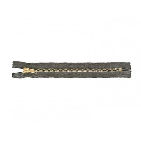 Black metallic zip - 20 cm