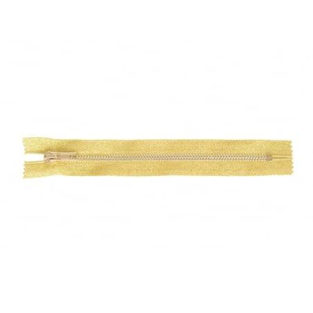 Gold-coloured metallic zip - 20 cm