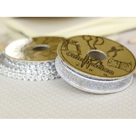 Decorative ribbon spool (2 m) - Glitter (10 mm) - silver-coloured (colour no. 102)