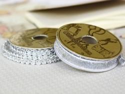 Decorative ribbon spool (2 m) - passament border (9 mm) - silver-coloured (colour no. 102)