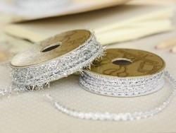 Decorative ribbon spool (2 m) - lace (4 mm) - silver-coloured (colour no. 302)