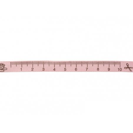 """Bobine 2m de ruban gros grain imprimé """"mètre"""" 10 mm - rose 074  - 1"""