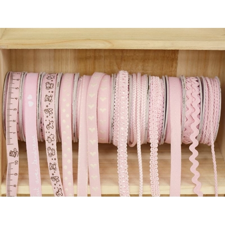 Woven Grosgrain ribbon spool (2 m) - measuring tape print (10 mm) - pink (colour no. 074)