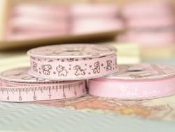 Rolle Ripsband (2 m) mit Tieraufdruck (10 mm) - rosa (Farbnr. 074)