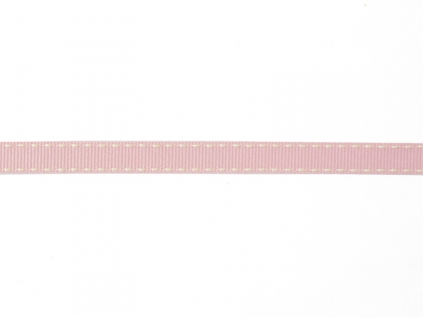 "Bobine 2m de ruban gros grain tissé ""tirets"" 10 mm - rose 074"