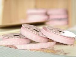 Rolle gewebtes Ripsband (2 m) - Herzen (10 mm) - rosa (Farbnr. 074)