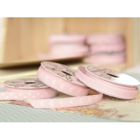 Woven Grosgrain ribbon spool (2 m) - hearts (10 mm) - pink (colour no. 074)