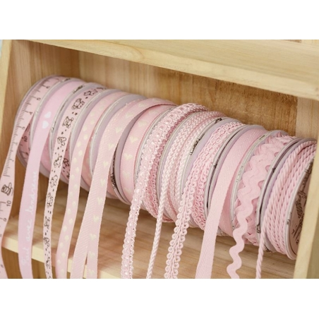 Decorative ribbon spool (2 m) - lace (9 mm) - pink (colour no. 074)