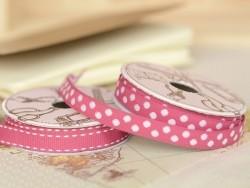 Woven Grosgrain ribbon spool (2 m) - polka dots (10 mm) - fuchsia (colour no. 078)