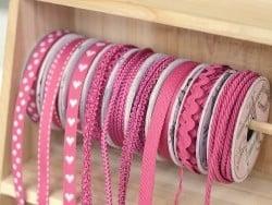 Woven Grosgrain ribbon spool (2 m) - Twill (10 mm) - fuchsia (colour no. 078)