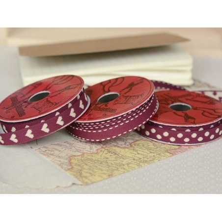 Woven Grosgrain ribbon spool (2 m) - polka dots (10 mm) - burgundy (colour no. 071)