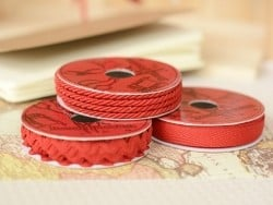 Woven Grosgrain ribbon spool (2 m) - Twill (10 mm) - red (colour no. 008)