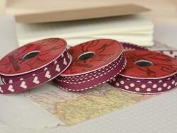 Woven Grosgrain ribbon spool (2 m) - hearts (10 mm) - burgundy (colour no. 071)