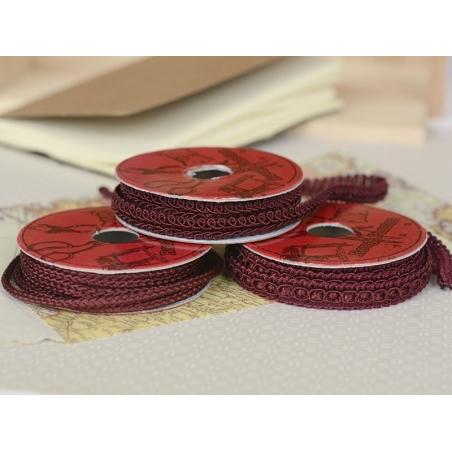 Decorative ribbon spool (2 m) - lace (9 mm) - burgundy (colour no. 071)