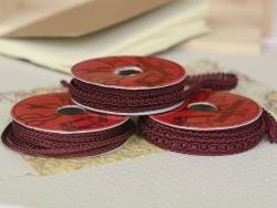 Decorative ribbon spool (2 m) - passament border (8 mm) - burgundy (colour no. 071)