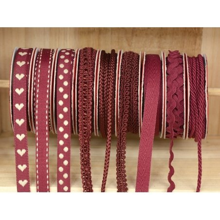 Decorative ribbon spool (2 m) - string (3 mm) - burgundy (colour no. 071)