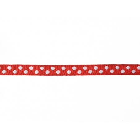 Woven Grosgrain ribbon spool (2 m) - polka dots (10 mm) - red (colour no. 008)