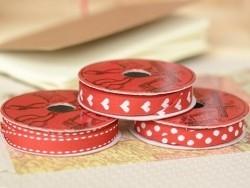 Rolle gewebtes Ripsband (2 m) - Striche (10 mm) - rot (Farbnr. 008)