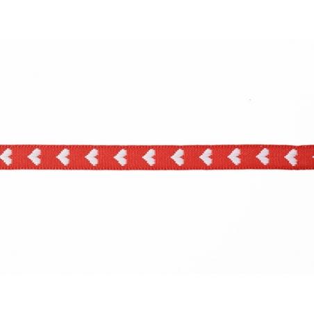 """Bobine 2m de ruban gros grain tissé """"coeurs"""" 10 mm - rouge 008"""