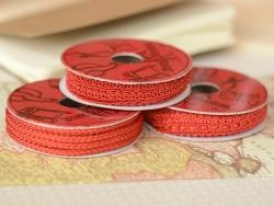 Decorative ribbon spool (2 m) - lace (9 mm) - red (colour no. 008)