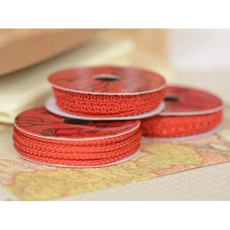 Decorative ribbon spool (2 m) - cord (3 mm) - red (colour no. 008)
