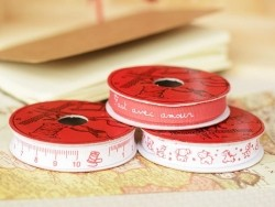 "Bobine 2m de ruban gros grain imprimé ""mètre"" 10 mm - rouge 008"