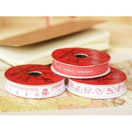 Woven Grosgrain ribbon spool (2 m) - measuring tape print (10 mm) - red (colour no. 008)