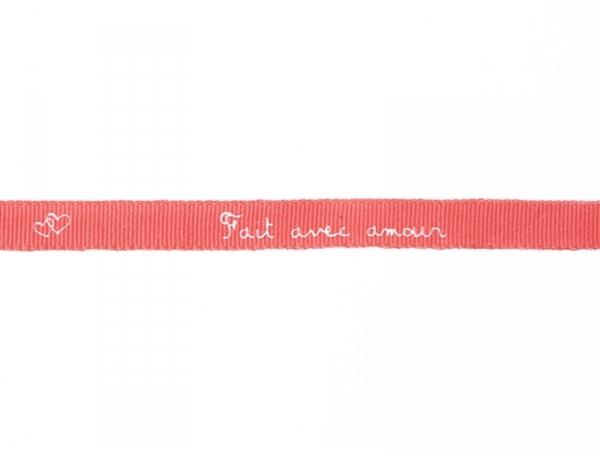 """Bobine 2m de ruban gros grain imprimé """"écriture"""" 10 mm - rouge 008"""