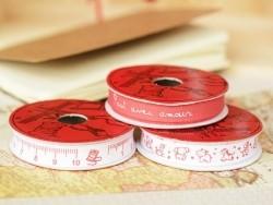 Grosgrain ribbon spool (2 m) - word print (10 mm) - red (colour no. 008)