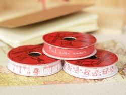 """Bobine 2m de ruban gros grain imprimé """"animaux"""" 10 mm - rouge 008"""