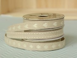 Rolle gewebtes Ripsband (2 m) aus Leinen - Herzen (10 mm) - beige (Farbnr. 245)