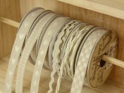 """Acheter Bobine 2m de ruban gros grain en lin tissé """"tirets"""" 10 mm - beige 145 - 2,69€ en ligne sur La Petite Epicerie - 100%..."""
