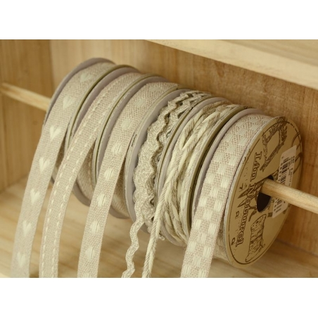 Woven Grosgrain linen ribbon spool (2 m) - dashes (10 mm) - beige (colour no. 145)