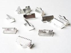 Ribbon crimp end for bias bindings, 13 mm - silver-coloured