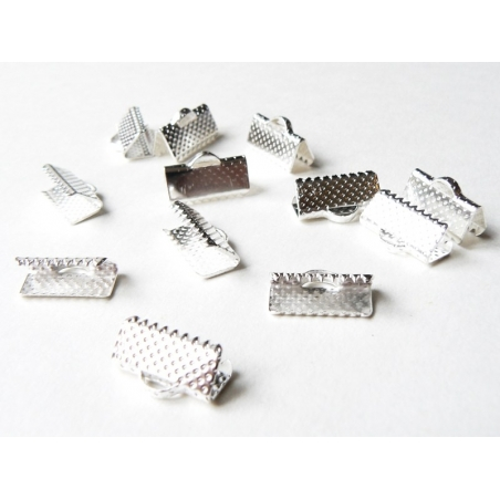 Ribbon crimp end for bias bindings, 13 mm - silver-coloured