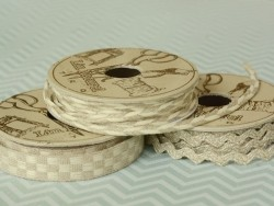 Woven Grosgrain linen ribbon spool (2 m) - chequerboard pattern (10 mm) - beige (colour no. 345)