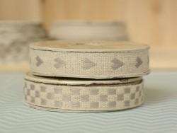 "Bobine 2m de ruban gros grain en lin tissé ""coeurs"" 10 mm - gris 231"
