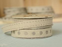 Woven Grosgrain linen ribbon spool (2 m) - polka dots (10 mm) - grey (colour no. 131)